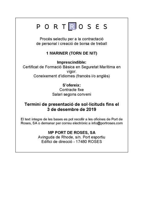 El Port Esportiu de Roses obre la convocatòria per a la contractació d'un mariner (torn de nit)
